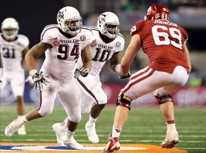 Lane Johnson shut down Texas A&M's Damontre Moore in the Cotton Bowl.